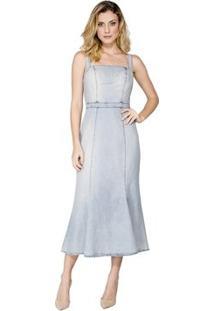 Vestido Jeans Cruzado Costas Alphorria - Feminino-Azul
