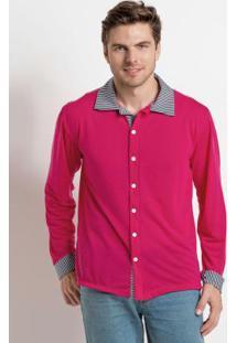 Camisa Rosa Com Recortes Em Listras