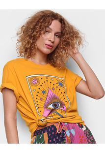 Camiseta Cantão Boyfriend Olhar Do Artista Manga Curta Feminina - Feminino-Amarelo