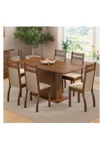 Conjunto Sala De Jantar Versalhes Madesa Mesa Tampo De Madeira Com 6 Cadeiras Marrom