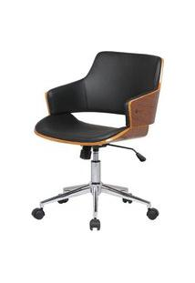 Cadeira Debora Preta Base Cromada Com Rodizio - 34459 Preto