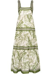Zimmermann Vestido Longo Com Estampa De Folhas - Branco