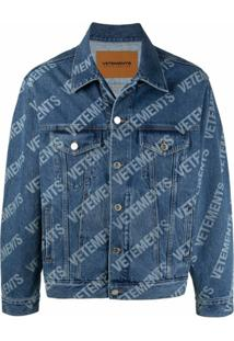 Vetements Logo-Print Denim Jacket - Azul