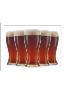 Quadro Decorativo Garagem Copos De Cerveja Geladas Branco - Médio