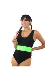Body Racy Modas Preto Com Faixa Neon Verde