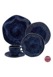 Aparelho De Jantar E Chá 20 Peças Ryo Safira Azul