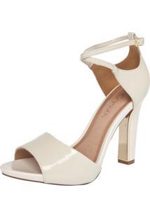 Sandália Crysalis Verniz Soft Off-White/Dourado