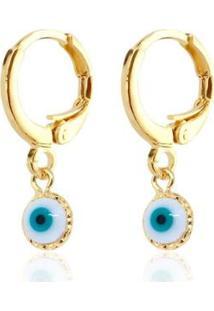 Brinco Piuka Isa Argola Articulada Olho Grego Folheado A Ouro 18K - Feminino-Dourado