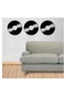 Adesivo De Parede Discos De Vinil 3 - P - Cada Disco 22X22Cm