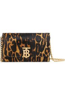 Burberry Small Leopard Print Shoulder Bag - Preto