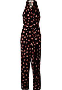 Diane Von Furstenberg Floral Print Wrap Jumpsuit - Preto