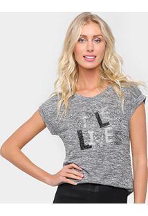 Camiseta Facinelli Styles Feminina - Feminino-Chumbo