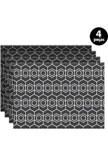 Jogo Americano Mdecore Geométrico 40X28Cm Grafite 4Pçs