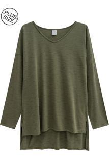 Blusa Lecimar Plus Em Meia Malha Outono Inverno Verde Médio