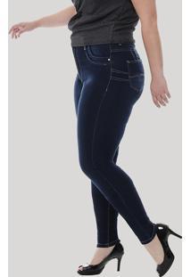 7459c0ea0 ... Calça Jeans Feminina Sawary Skinny Plus Size Azul Escuro