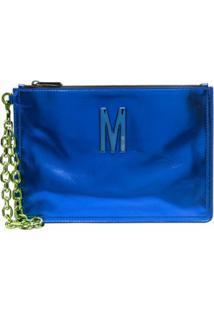 Moschino Clutch Com Efeito Metálico M - Azul