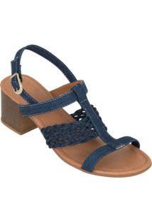 Sandália Jeans Com Detalhes Vazados
