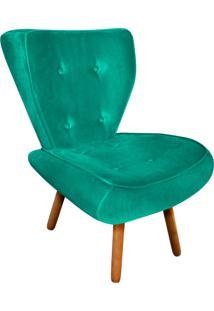Poltrona Decorativa Tathy Suede Verde Tiffany Pés Palito - D'Rossi - Tricae