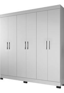 Guarda Roupa Pinheiro 6 Portas Branco Brilho Atualle Móveis - Tricae