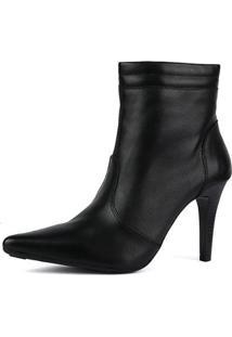 Ankle Boot Em Couro Sapatofran Bico Fino Feminina - Feminino-Preto
