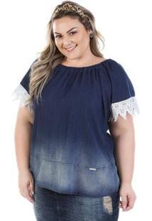 Blusa Feminina Judy Ciganinha Com Renda Plus Size - Feminino-Marinho