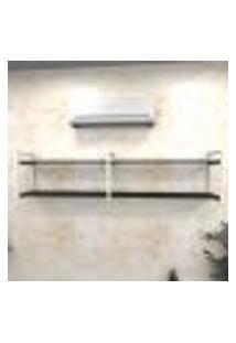 Estante Industrial Escritório Aço Cor Branco 180X30X40Cm (C)X(L)X(A) Cor Mdf Preto Modelo Ind40Pes