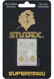 Brinco Studex Supermaxxi Dourado Pedra Cristal Espelhado 1 Unidade