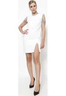 Vestido Com Correntes - Off White & Prateado - Versaversace