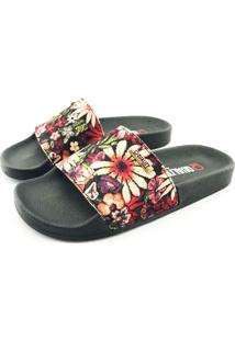 Chinelo Slide Quality Shoes Feminino Floral Preto Sola Preta 41 41