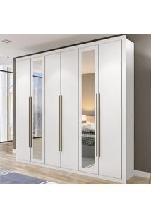 Guarda-Roupa Casal Salvador 6 Portas 2 Gavetas Branco/Espelho - Maxel