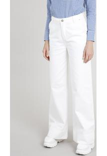 Calça De Sarja Feminina Mindset Pantalona Cintura Alta Off White