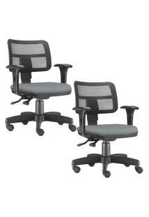 Kit 02 Cadeiras Giratórias Lyam Decor Zip Suede Cinza
