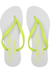 Chinelo Calvin Klein Neon Branco/Verde - Kanui
