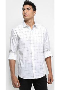 Camisa Calvin Klein Xadrez Falhado Masculina - Masculino-Branco