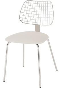 Cadeira Steel Chair Assento Dunas Branco Com Pes Cromados - 46692 Sun House