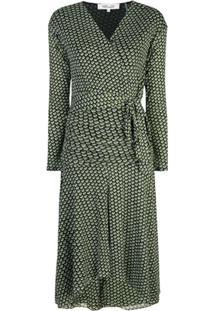 Diane Von Furstenberg Vestido Envelope Com Padronagem Geométrica - Verde