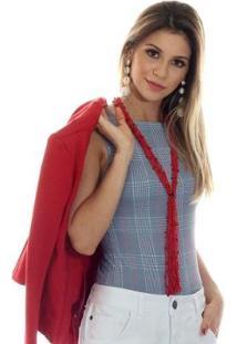 Regata Ficalinda Decote Canoa Feminina - Feminino-Cinza+Vermelho
