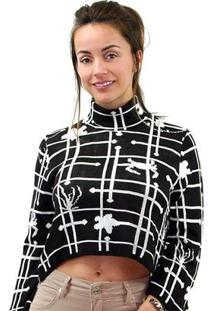 8353c8e06 ... Blusa Morena Rosa Tricot Com Ziper Lateral Feminino - Feminino-Preto