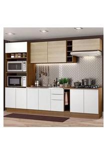 Cozinha Completa Madesa Stella 290001 Com Armário E Balcão Rustic/Branco/Saara Cor:Rustic/Branco/Saara