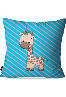 Capa De Almofada Pump Up Avulsa Infantil Azul Girafinha 45X45Cm