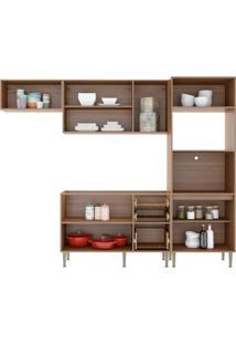 Cozinha Compacta Multimóveis Calábria 5457.680.131.680 Nogueira Branco Se