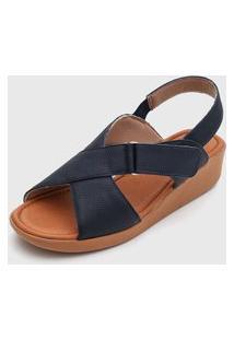 Sandália Usaflex Tiras Cruzadas Azul-Marinho