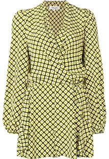 Dvf Diane Von Furstenberg Macacão Estampado De Seda - Amarelo