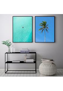 Quadro Oppen House 70X100Cm Praias Ibiza Espanha Palmeiras Ondas Decorativo Interiores Sala De Estar Quartos Moldura Preta Com Vidro