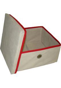 Caixa Organizadora Com Tampa E Ilhós 28X15X28Cm Organibox Bege/Vermelho