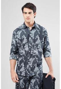Camisa Double Reserva Face Folhas Masculina - Masculino-Preto+Cinza