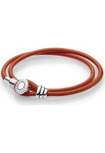 Bracelete Pandora De Couro De Duas Voltas Laranja