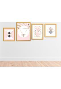 Kit 4 Quadros Com Moldura Dourada Modern Pink