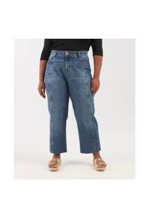 Calça Jeans Com Recortes Curve & Plus Size | Ashua Curve E Plus Size | Azul | 46