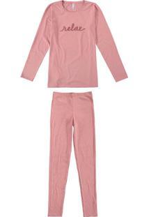 Pijama Rosa Relax Em Malha